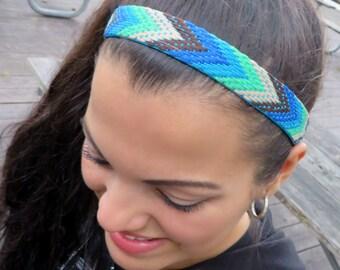 No Slip Headband, Yoga Headband, Running Headband, Fitness Headband, Hippie Chevron Headband, Bohemian Women Headband, Boho Blue Headband