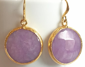 SALE!! Round Purple jade stone earrings | Jade Earrings |  Purple Jade jewellery | Gold Dangle Earrings