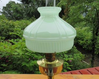 Original Vintage Antique Aladdin Model 23 Brass Kerosene Lamp with Jadite Green Glass Shade