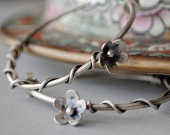 Sterling Silver Hoop Earrings, Flower Hoop Earrings, Wire Wrapped, Bohemian Jewelry, Nature Inspired, Oxidized, Boho, Floral, Branch, Gift