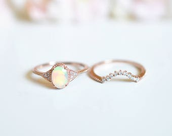 Rose Gold Opal Engagement Ring Sets Vintage Opal Wedding Ring Opal  Enagegement Ring Antique Opal Engagement Ring Platinum Opal Promise Ring