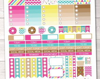 Coffee & Donuts Planner Stickers Weekly Set with Full and Half Boxes Text Headers Icon Graphics Printable PDF
