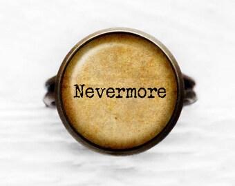 Edgar Allan Poe Nevermore Adjustable Ring