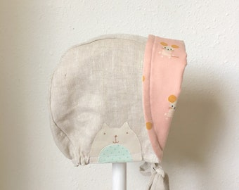 Linen Baby Bonnet Kitty Cat Toddler Sunhat Cotton and Steel Mouse