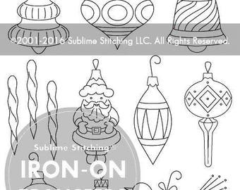 VINTAGE ORNAMENTS- Iron On Hand Embroidery Transfer Patterns