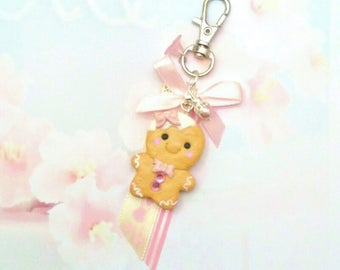 keychain gingerbread kawaii polymer clay