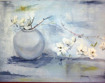 a moment of Zen flowers in a vase oil