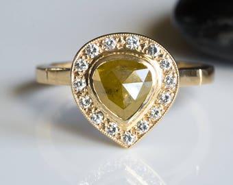 Rose cut diamond ring, rose cut diamond engagement ring, Halo fancy diamond gold ring, bezel diamond ring, engagement diamond ring, 14K gold
