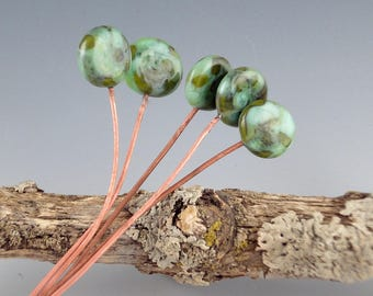 Lampwork Headpins (2), lampwork glass beads, Handmade Lampwork Glass Headpins, copper headpin, jewelry supplies, jewelry headpin, Fern