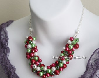 Christmas Necklace Christmas Gift Idea Christmas Jewelry Red Necklace Green Necklace Gift for Her Custom Accessories Gift on a Budget