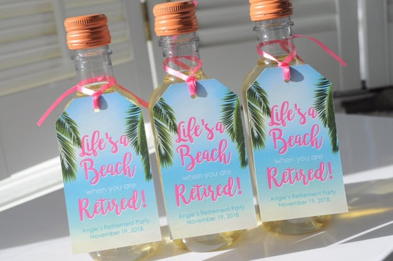 Beach Retirement Party Favor Tags Retirement Wine Favor Tags