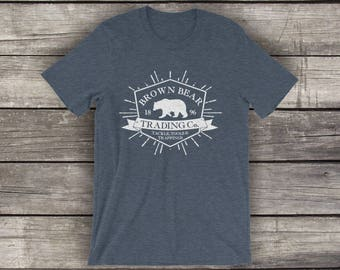 Brown Bear Trading - Unisex Cotton T-Shirt - Mountain Lifestyle Tees by Alpine Graphics - Choose Size and Color - T026