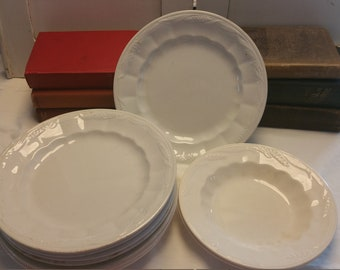 Antique White Ironstone Plates/Ironstone Ironstone Wheat Pattern