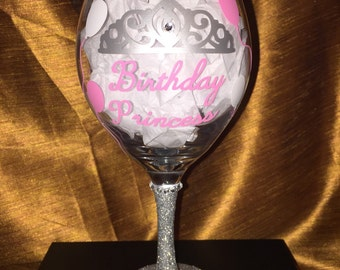 Birthday Princess Wine Glass