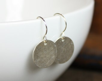 Small Sterling Silver Earrings - Hammered Circle