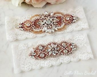 Rose Gold Garter - Wedding Lace Garter Set - Keepsake Garter, Rhinestone Garter, Bridal Garter Belt, Bridal Gold Garter, Toss Garter