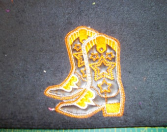 EMBROIDERED GUEST TOWEL AND FABRIC THEME COWBOY BOOT 30 X 50