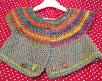 """crocheted vest says """"one day school"""" pure wool 3 months"""