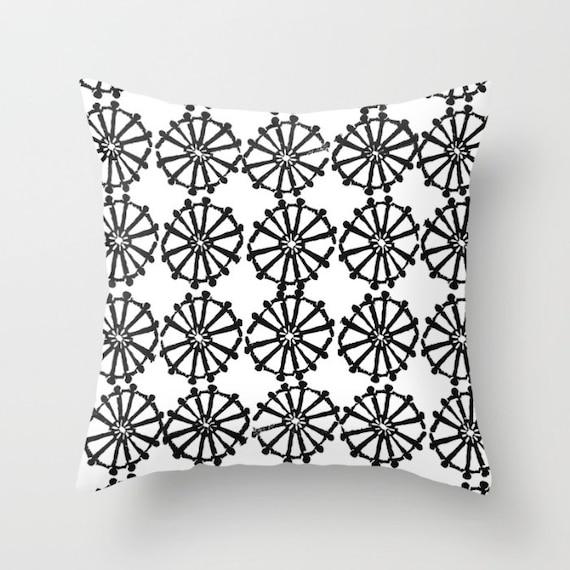 OUTDOOR Throw Pillow . White Outdoor Pillow . Black and White patio cushion . Modern Geometric Pillow Wheel . 16 18 20 inch . Lumbar Pillow