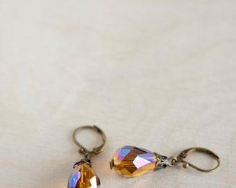 Topaz Brown Antique Earrings, Faceted Glass Teardrop Beads, Brass, Neo Vintage Jewelry