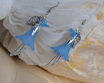 Bluebell earrings, bellflower jewelry, powder blue flower earrings, Victorian fairy jewelry, elven woodland earrings, faerie bluebells