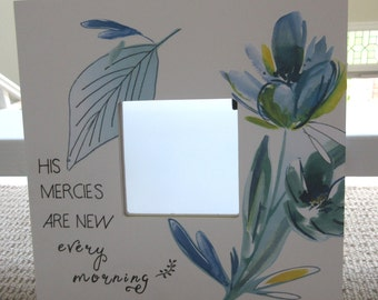 Christian Gift for Women His Mercies Are New Every Morning Blue and White Mirror  Mirror Wall Decor Gifts for Her