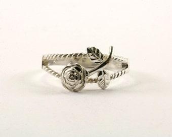 Vintage Rose Flower Design Ring 925 Sterling RG 1564