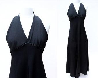 Vintage 70s Dress / Vintage Black Halter Maxi Dress