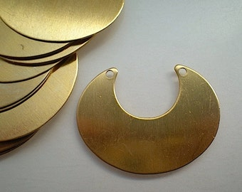 12 large flat brass crescent stamping blanks