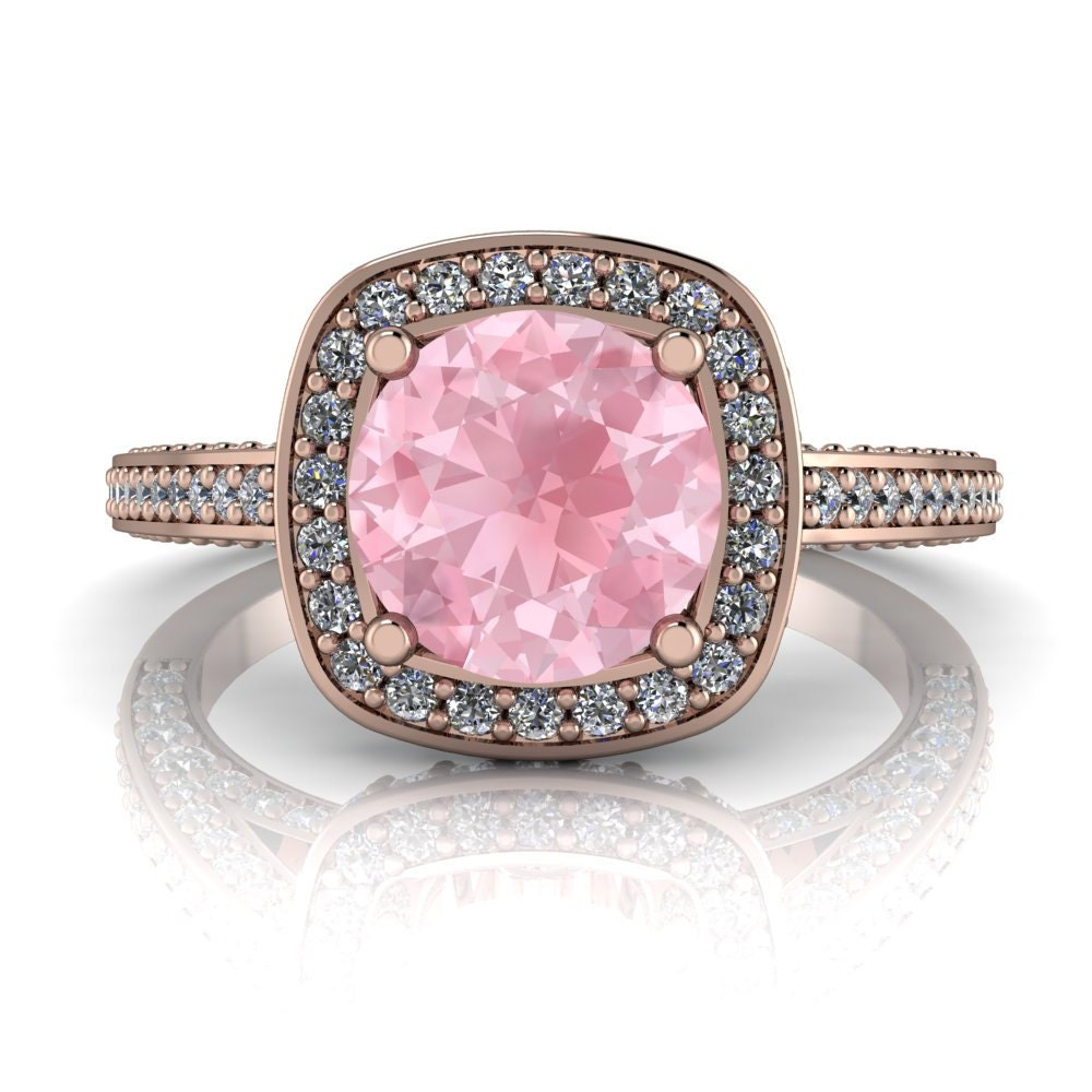 Morganite Engagement Ring Diamond Halo Setting Gold Platinum