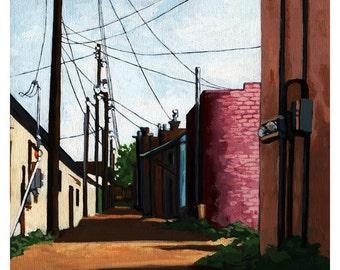 Back Alley City Street Urban Buildings landscape city original oil painting
