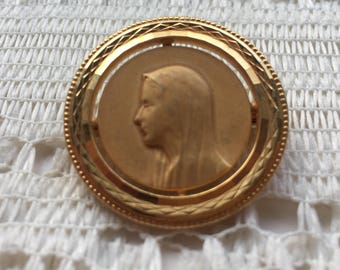 Beautiful Vintage French Religious Virgin Mary Brooch - Our Lady - Devotional