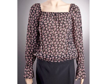2 STYLES Sheer BLOUSE US size 4-14 with beautiful pattern, Black blouse, Long sleeve blouse, Off shoulder blouse, Thin Blouse