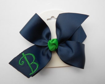 Uniform Initial, Monogram Hair Bow, Custom Boutique, Navy Emerald Green, Medium School, Formal Plaid, Embroidered, Monogrammed Kid, Standard