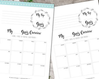 Goals Overview Planner for Any Year