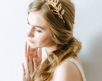 Wedding tiara - Wedding gold crown - Forest nymph tiara - Greek crown - Greek tiara Wedding headband - Weddind hair accessory Bridal crown