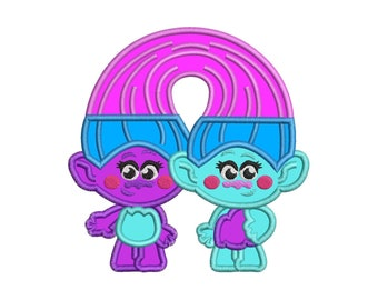 Satin and Chenille Trolls Applique Embroidery Design - Instant Download