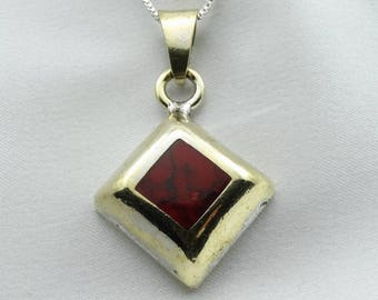Vintage Sterling Silver and Red Jasper Pendant.  20 Inch Sterling Silver Chain Included! #RJSP-SPC6