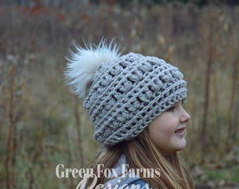 Slouchy Hat, Slouchy Beanie, Gray Hat, Crochet Hat, Fur Pom Pom,  Slouch Hat, Knit, Woman Hat, Winter Hat, Gift for Her, Christmas Gift