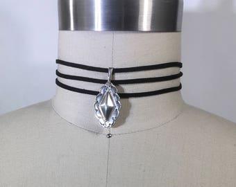 Vegan suede choker & vintage sterling silver pendant
