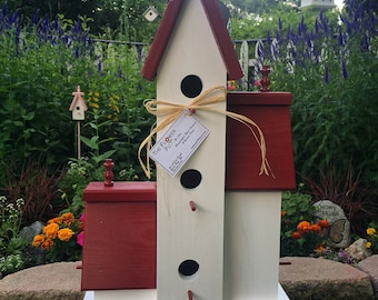 Large Three Sided Handcrafted Wooden Birdhouse Condo Outdoor Bird House