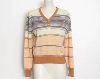 1970er Jahre Pullover Pullover / langärmelige Pastell & Gold Metallic gestreift stricken / Damen Vintage 70er Jahre Point Osten Pullover