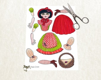 Little red riding hood paper doll instant download. DIY paper doll print. Printable art. Digital art. Paper toy.