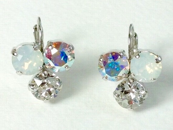 Swarovski Crystal 8.5mm Earrings Three Stone - Lucky Clover Earrings  White Opal, Crystal, Aurora Borealis   FREE SHIPPING