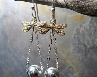 Dragonfly earrings dangle nature jewelry insect jewelry chain ball sterling silver - SummerDance