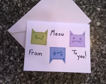 Cat Greeting card - blank cards - Handmade Greeting Card - Gift Giving - Kitty card - Stationery -Gift Ideas-Just because