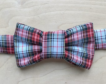 Holiday Plaid Bow Tie For Cats - Red & White Plaid