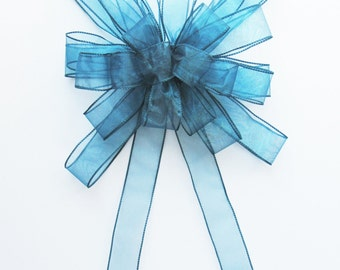 Large Sheer Wired Bow - Blue - Sheer Wired Bow - 24 Loops - Sheer Blue Bow - Party Decoration - Wreath Bow