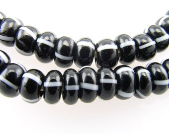 BLACK with White Stripes Glass African Trade Beads 5mm (25)