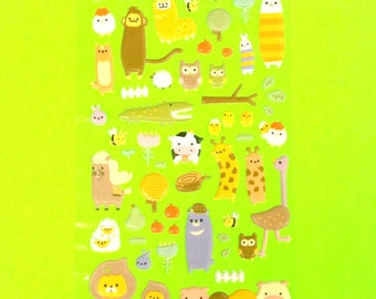 Zoo Time Monkey Giraffe, Owl Animal Lion Alligator Ostrich Cute Super Kawaii Kitschy Kyuuto Puffy Vinyl Sticker Set